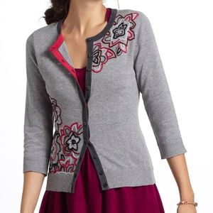 ANTHROPOLOGIE Embroidered Azalea Cardigan {U47}